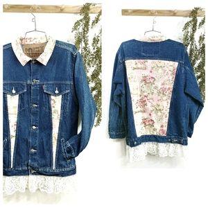 Custom Floral Denim Jean Jacket Size Large